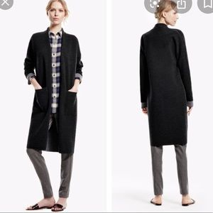 Theory Armelle Open Front Wool Black Long Cardigan